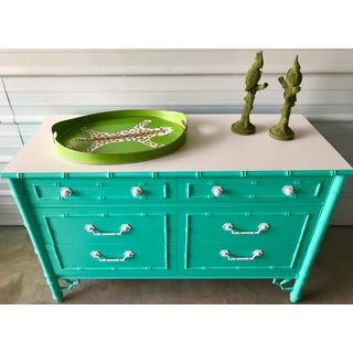 Vintage Custom Colored Turquoise Bamboo Dressers - a Pair Preview