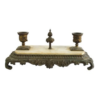 19th Century French Style Bronze and Marble Ink Well For Sale