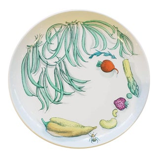Piero Fornasetti Pottery Vegetalia Plate, #11 Cornettino For Sale
