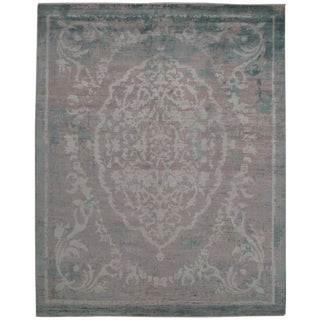 "Modern Pasargad N Y Wool & Bamboo Silk Hand Knotted Area Rug - 8'1"" X 10'2"" For Sale"
