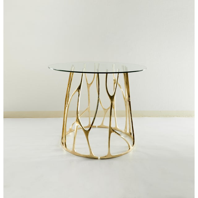 Misaya Brass Sculpted Round Table, Golden Roots, Misaya For Sale - Image 4 of 5