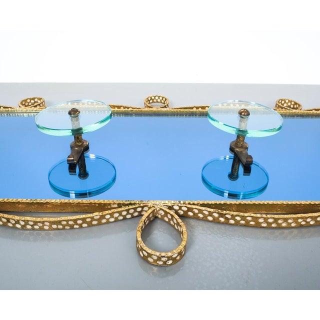 Pierluigi Colli Coatrack Wall Wardrobe Iron Blue Glass Mirror, Italy 1950 For Sale - Image 6 of 10