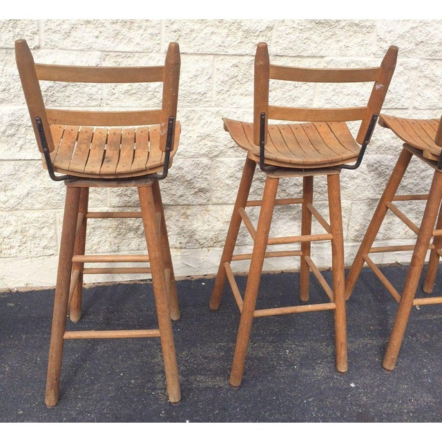Arthur Umanoff Type Mid-Century Modern Bar Stools - Set of 4 For Sale In Washington DC - Image 6 of 6