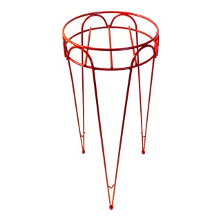 "27"" Vintage Mid-Century Red Metal Hairpin Plant Stand 