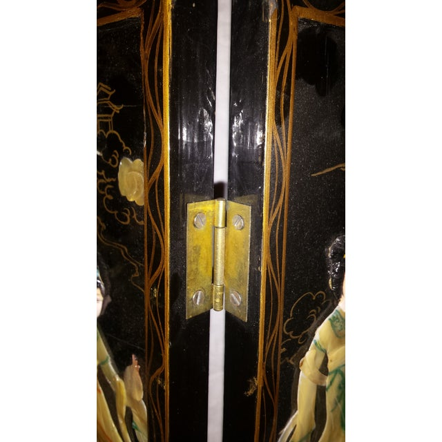 Chinese Courtesan Table Screen Black Lacquer - Image 9 of 9