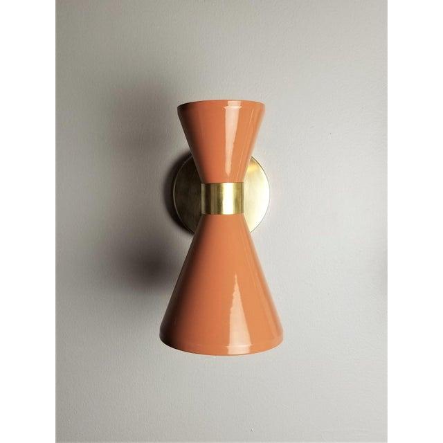 "Blueprint Lighting Italian Modern Brass & Blush Enamel ""Campana"" Wall Sconces - A Pair For Sale - Image 4 of 10"