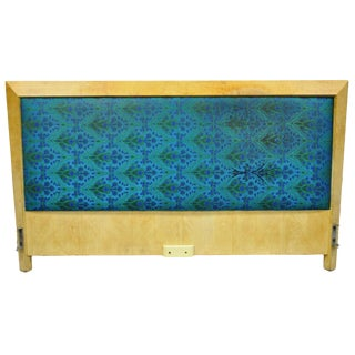 Mid Century Modern Art Deco Burl Wood Queen Size Birdseye Maple Bed Headboard For Sale