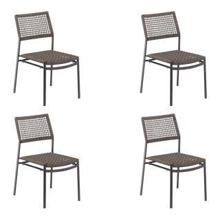 Outdoor Side Chair, Carbon and Mocha (Set of 4) For Sale