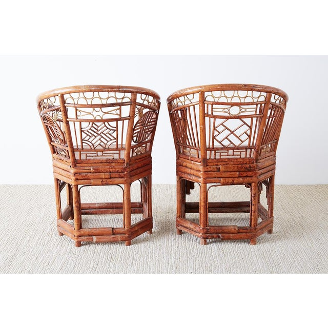 Set of Four Brighton Pavillion Style Bamboo Armchairs For Sale - Image 12 of 13