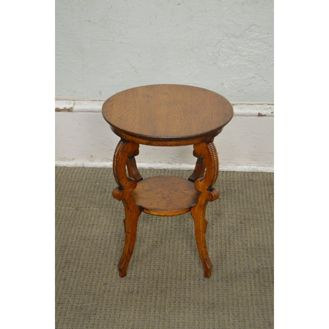 Antique Victorian Solid Oak 2 Tier Taboret Side Table - Image 2 of 10