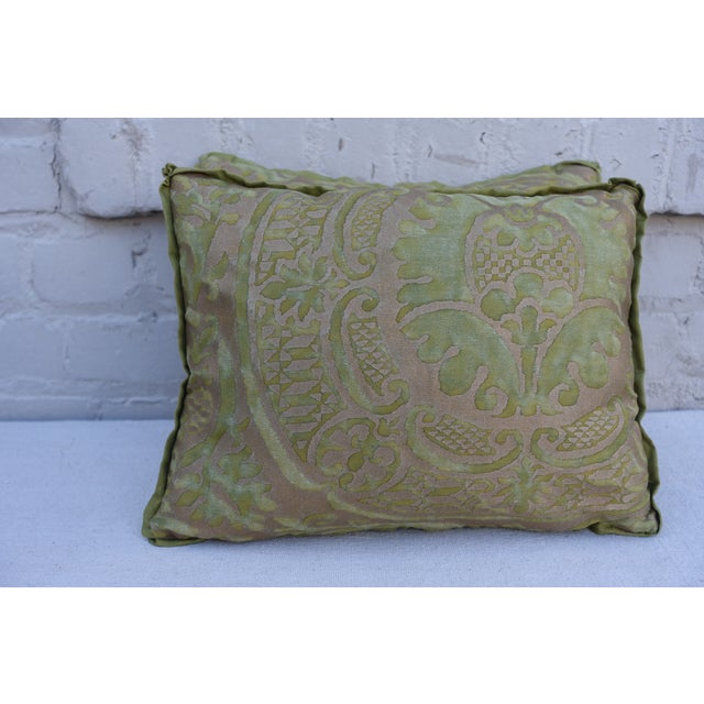 Green and Gold Fortuny Textile Pillows - A Pair - Image 2 of 4