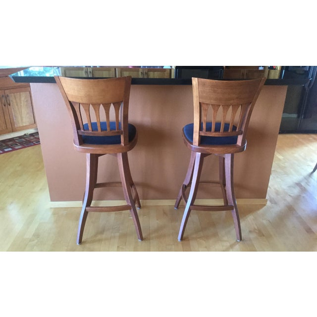 Contemporary Custom Bar Stools With Cushioned Seats - a Pair For Sale - Image 4 of 6