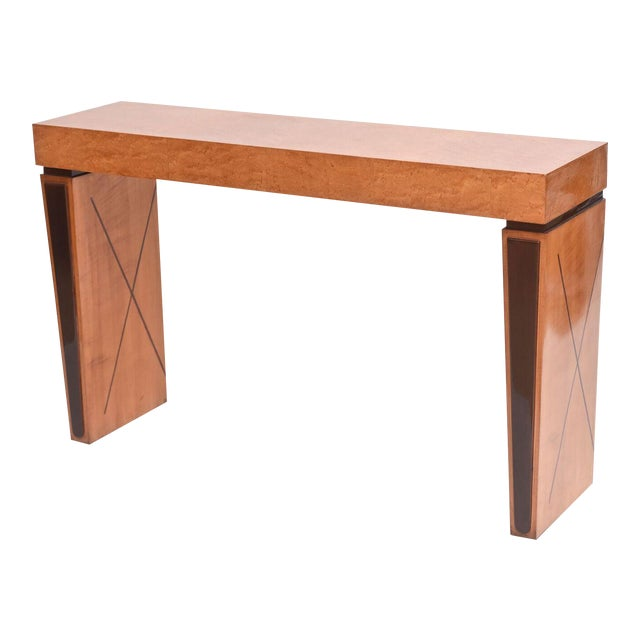 Art Deco Burled Walnut and Mahogany Inlaid Console Table, France For Sale