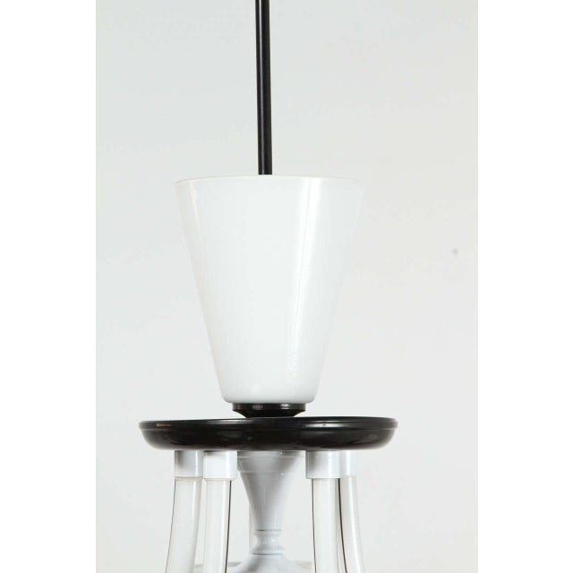 Italian White & Black Murano 5 Arm Chandelier Fixture For Sale - Image 3 of 10