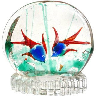 Murano Double Side Two-Color Fish Italian Art Glass Mid Century Aquarium Sculpture For Sale