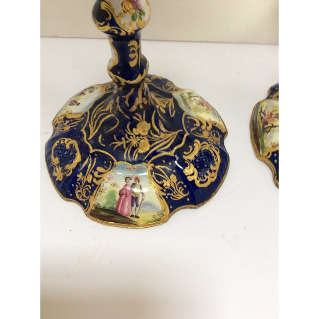 English English Enamel Candlesticks - A Pair For Sale - Image 3 of 7