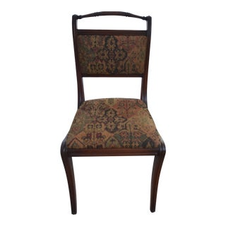 Cherry and Tapestry Side Chair For Sale