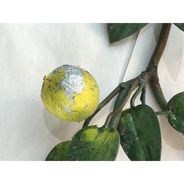 Green Italian Lemon Tole Candle Wall Sconces - a Pair For Sale - Image 8 of 13