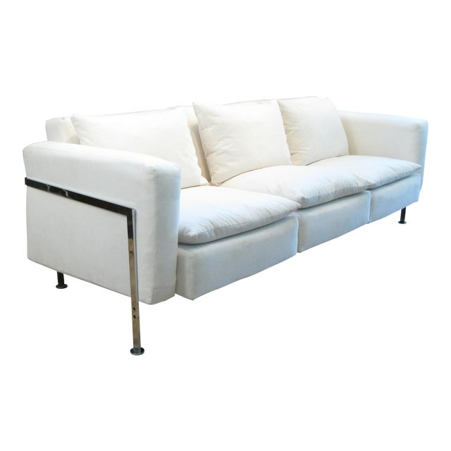1960s Polished Steel Sofa by Robert Haussmann for Hans Kaufeld For Sale