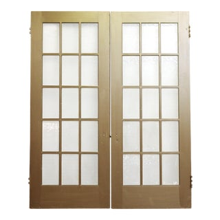 Gold Painted Wood Doors - A Pair