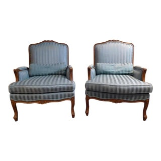 Ethan Allen French Queen Anne Walnut Club Chairs - a Pair For Sale