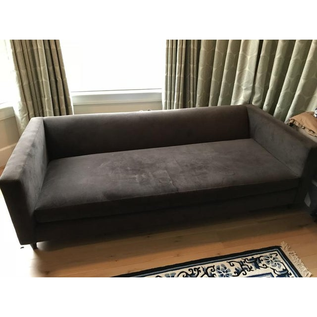 Crate & Barrel Brown Suede Sofa - Image 5 of 6