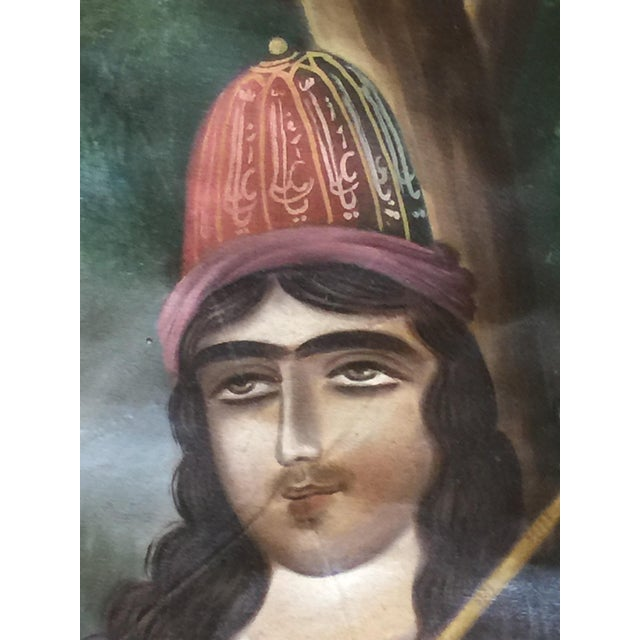Late 19th Century Antique 19th Century Persian Qajar Tea House Signed Oil Painting on Canvas For Sale - Image 5 of 12