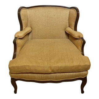 Oversized Wingback Marquis Chair Upholstered in Burlap Carved Wood Details For Sale