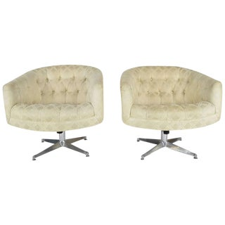 Ward Bennett Swivel Lounge or Club Chairs - A Pair For Sale