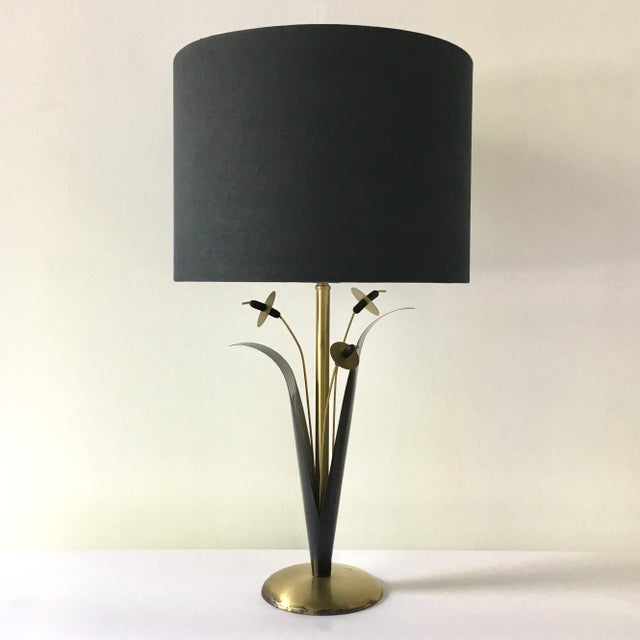 1970s Single Patinated Metal Sculptural Reed Table Lamp 1970s For Sale - Image 5 of 5