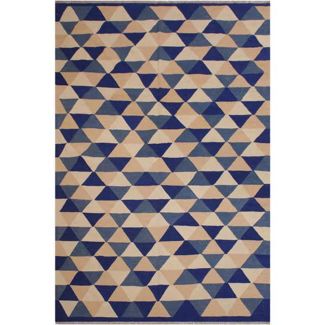 Blue Retro Kilim Blue Hand-Woven Wool Rug - 6′4″ × 8′9″ For Sale - Image 8 of 8