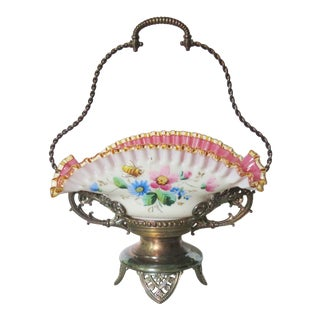 Victorian Silverplated Enameled Glass Brides Basket For Sale