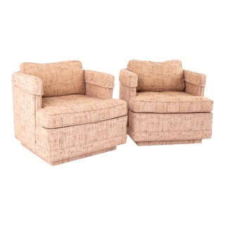 Richard Honquest for Henredon Mid Century Upholstered Rolling Lounge Chairs - Pair For Sale