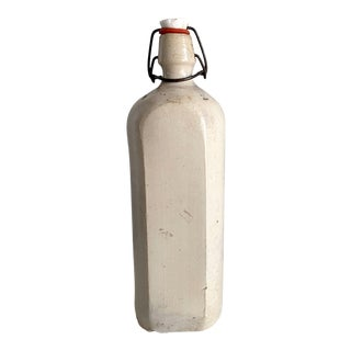 Antique Stoneware Bottle With Porcelain Stopper For Sale