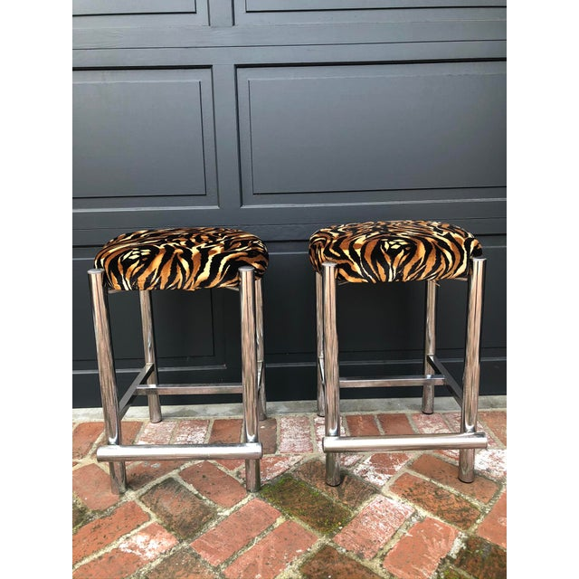 Metal Mid-Century Chrome Based Stools - a Pair For Sale - Image 7 of 7