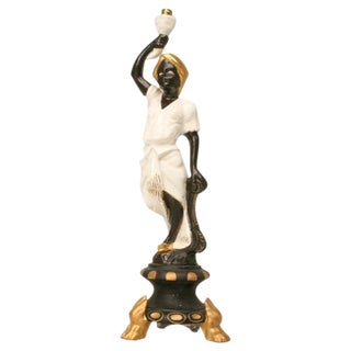 Vintage French Blackamoor Torchiere Lamp For Sale