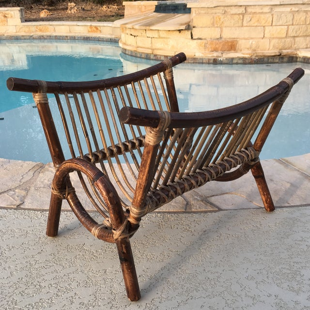 Bentwood & Rattan Magazine Rack For Sale - Image 7 of 9