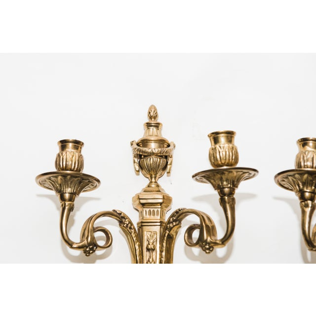 Vintage Brass Candle Sconces - a Pair For Sale - Image 4 of 7