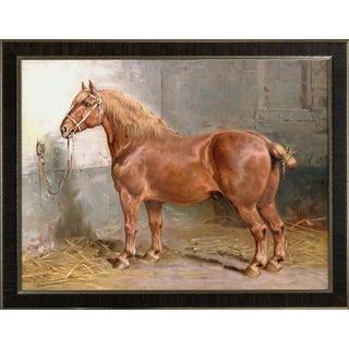 Suffolk Horse by Eerelman Framed in Italian Wood Vener Moulding For Sale