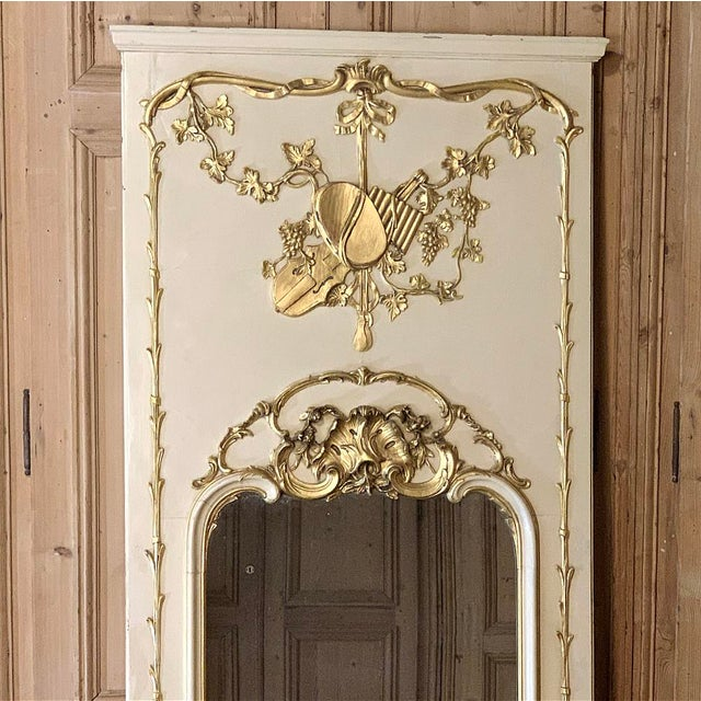 Wood 19th Century French Louis XVI Painted Trumeau Mirror For Sale - Image 7 of 13