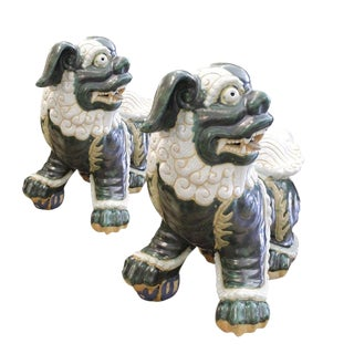 20th Century Chinese Glazed Green and Cream Terra-Cotta Chinese Foo Dogs - a Pair For Sale