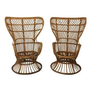 Gio Ponti Style Rattan & Bamboo Chairs