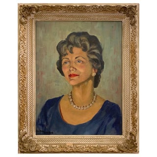 950s Portrait Painting, Woman With Pearls, Alberta Winchester by Alida Vreeland For Sale