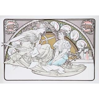 "Alphonse Mucha, ""Heavenly Women"", Art Nouveau Lithograph Poster"