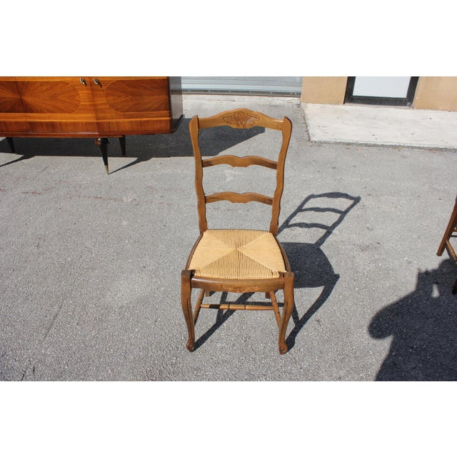 1910s Vintage French Country Rush Seat Solid Walnut Dining Chairs - Set of 6 For Sale - Image 10 of 13