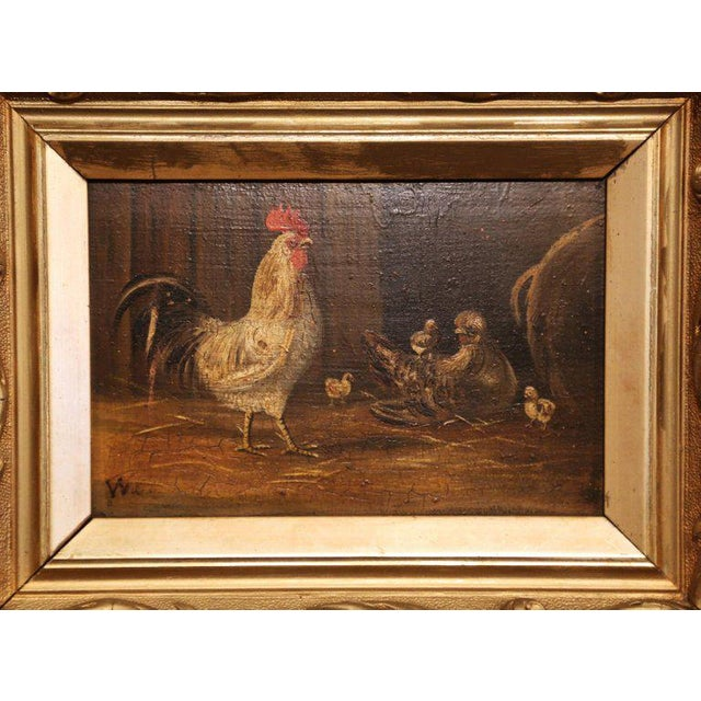 Pair of 19th Century French Oil Chicken Paintings on Board in Carved Frames Circa 1880 For Sale - Image 4 of 10