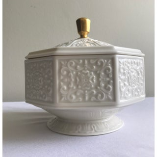 Late 20th Century Vintage Lenox Bone China Octagonal Pedestal Covered Box Preview