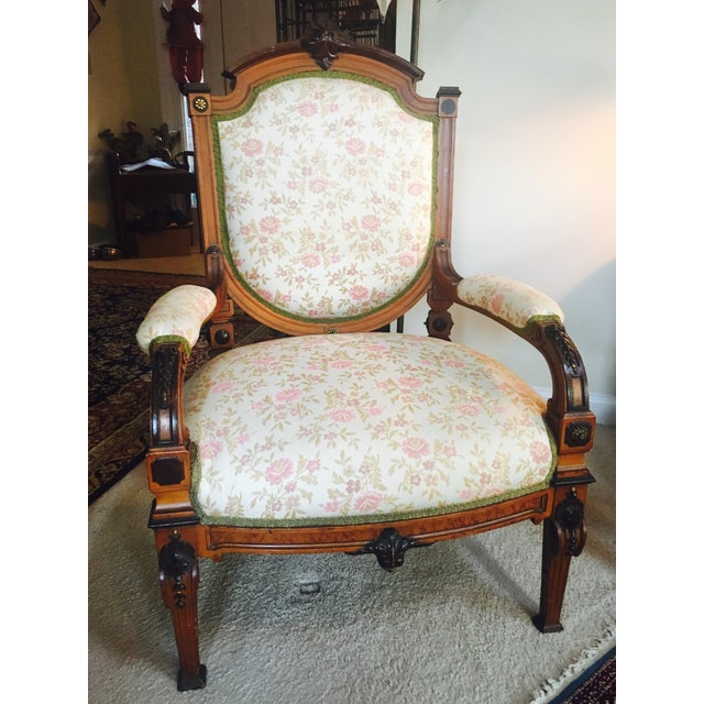 Antique Reupholstered French Armchair - Image 3 of 8