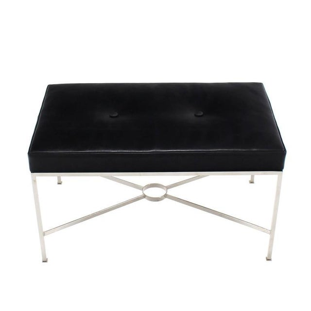 Animal Skin Black Leather Upholstered Rectangular X-Base Bench For Sale - Image 7 of 8