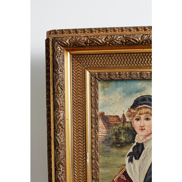 Canvas 19th Century Folk Art Painting of a Young Girl For Sale - Image 7 of 13